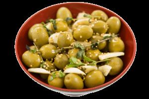Groene olijven met knoflook